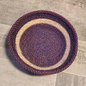 EUC Vintage Navy Red Cream Hand Crafted Basket